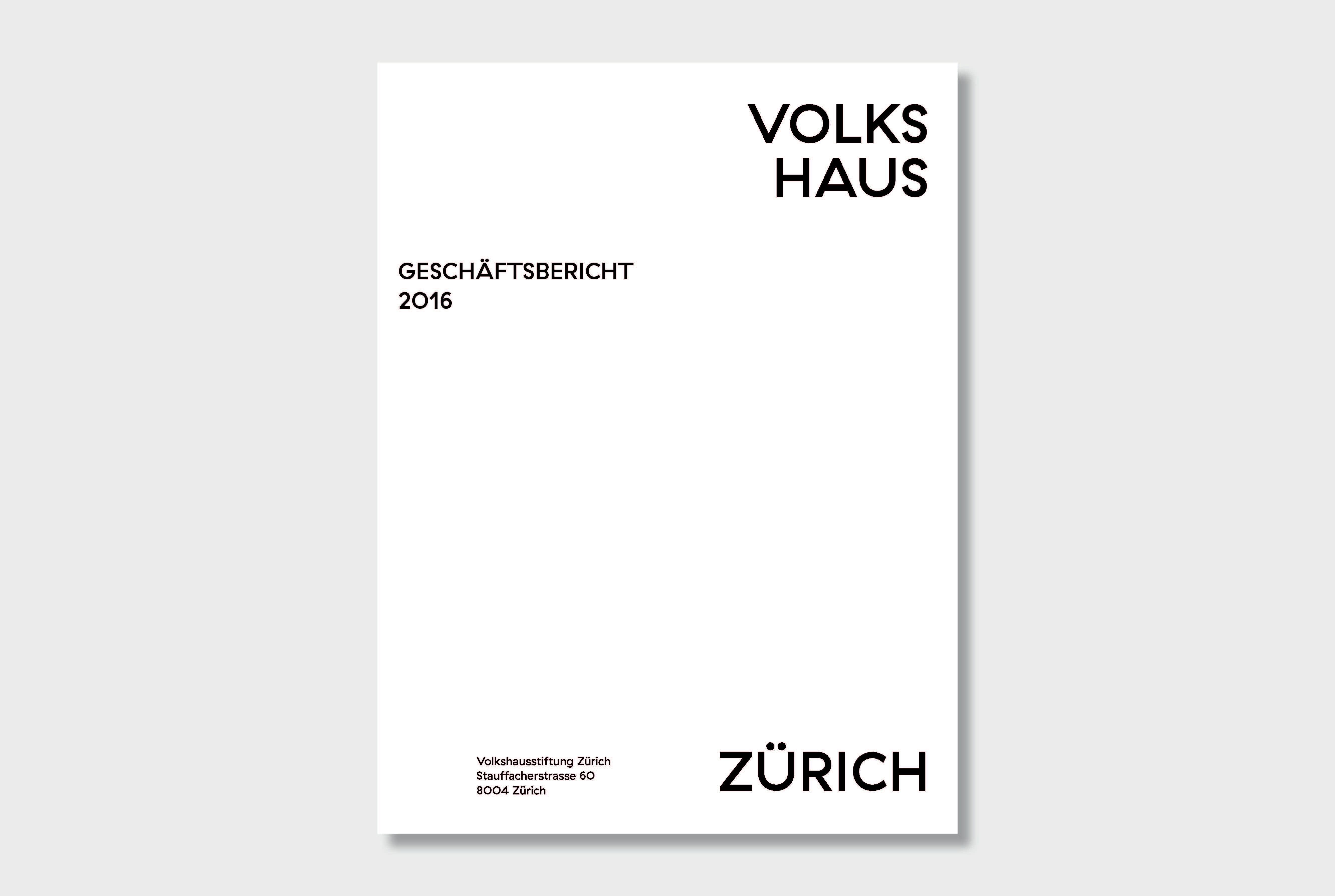 Geschäftsbericht Volkshaus Zürich